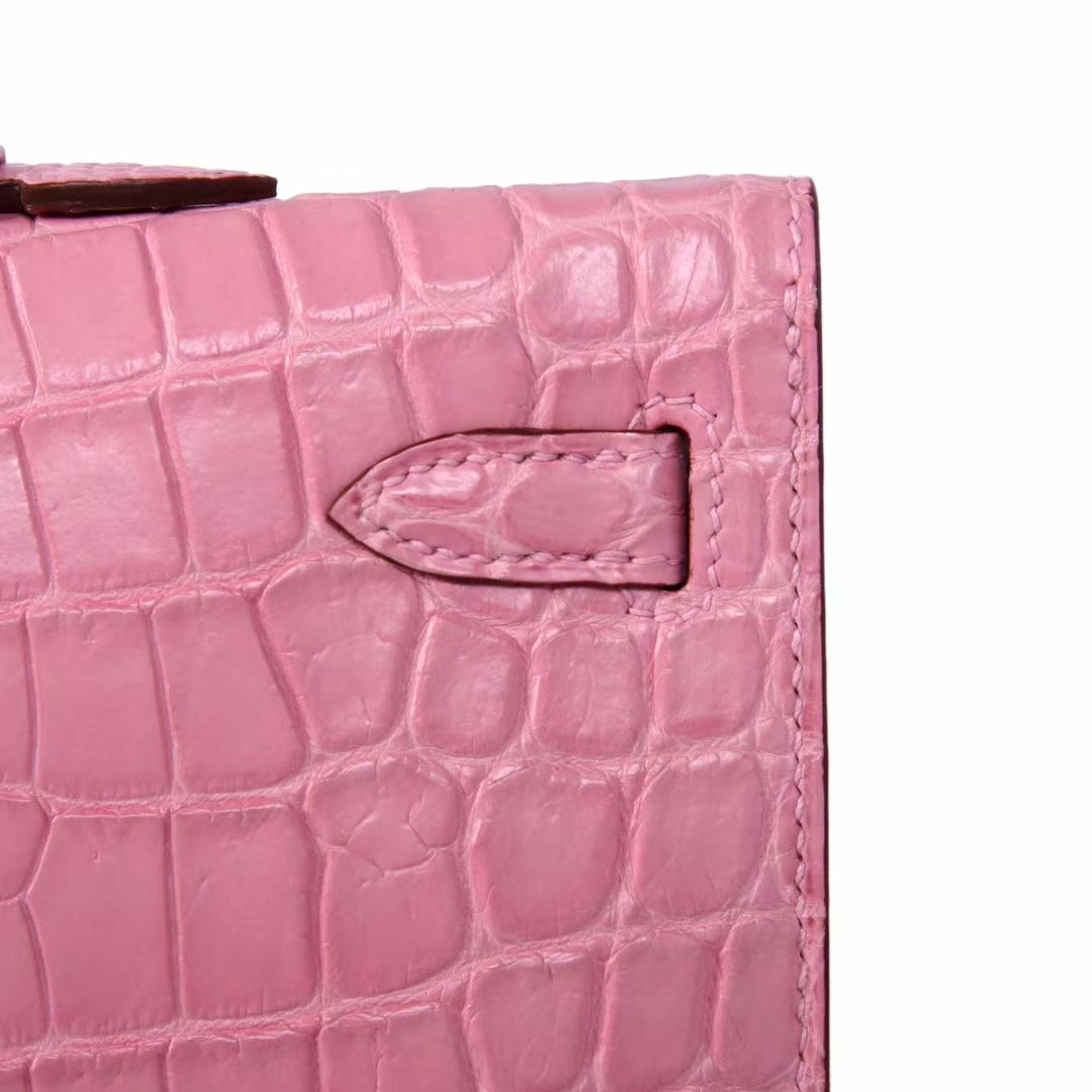 Hermès(爱马仕)Kelly Cut 长款钱夹 樱花粉 鳄鱼皮 银扣 31CM