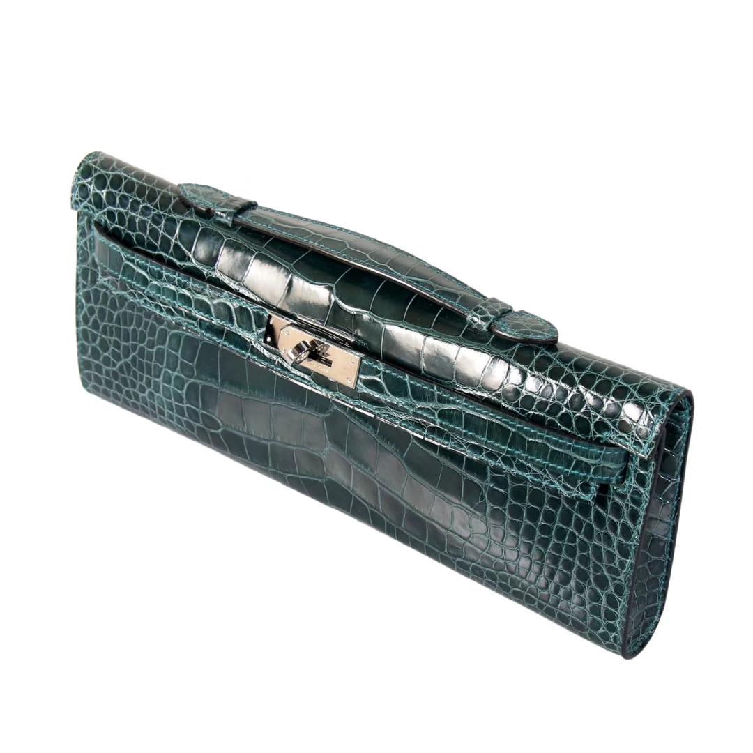 Hermès(爱马仕)Kelly Cut 长款钱夹 翡翠绿 鳄鱼皮 银扣 31CM