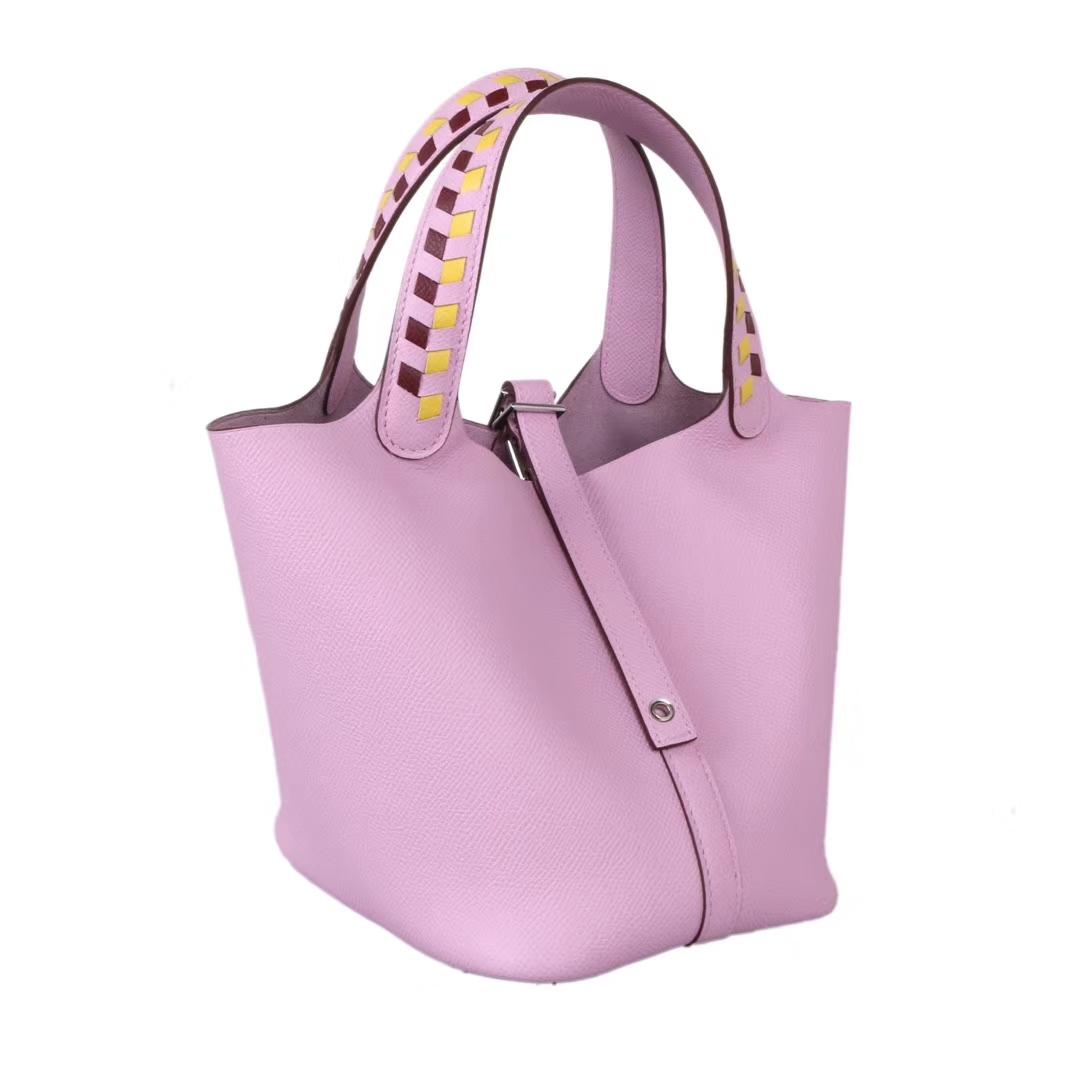 Hermès(爱马仕)Picotin菜篮包 编织系列 锦葵紫 原厂御用epsom皮 银扣 18cm