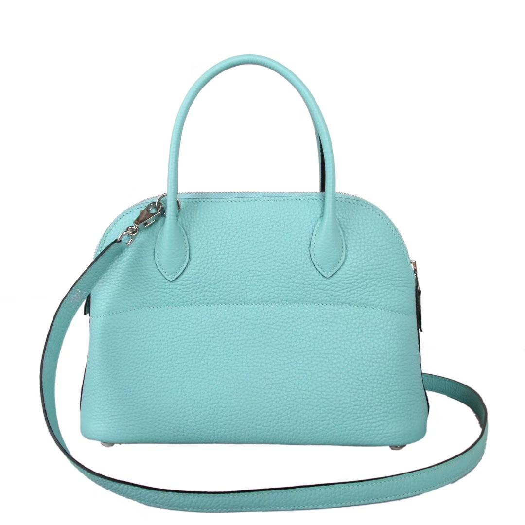 Hermès(爱马仕)bolid保龄包 马卡龙蓝 原厂御用Swift皮 Togo 银扣 28cm