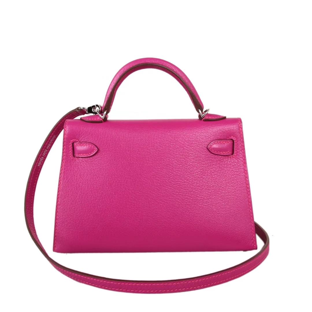 Hermès(爱马仕)mini Kelly 迷你凯莉 玫瑰紫 原厂御用羊皮 银扣 二代