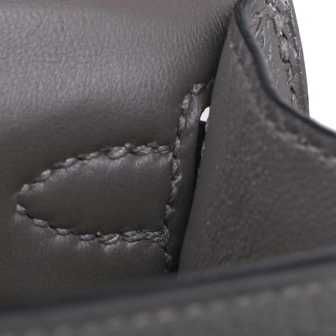 Hermès(爱马仕)mini Kelly 迷你凯莉 锡器灰 原厂御用羊皮 银扣 二代