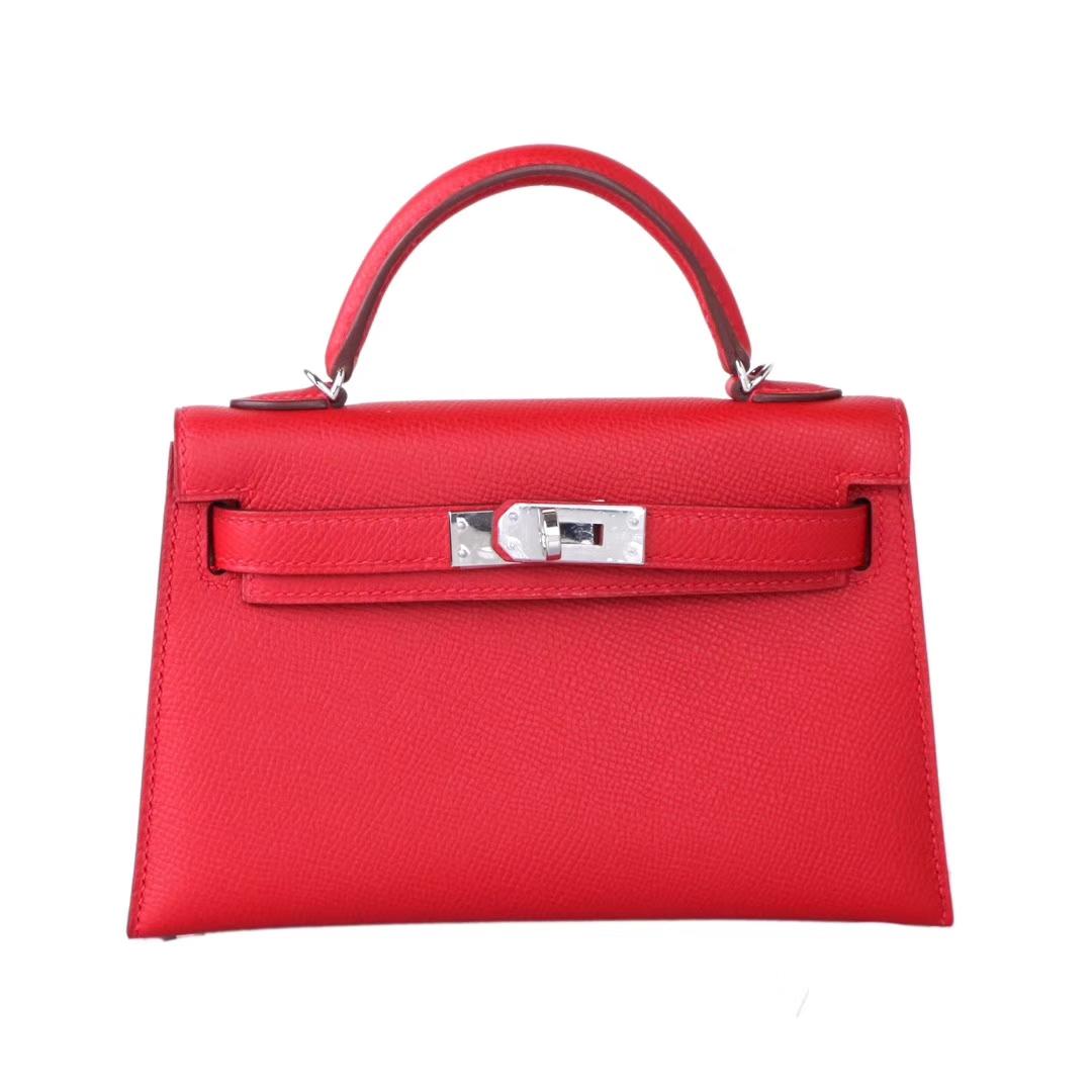 Hermès(爱马仕)mini Kelly 迷你凯莉 国旗红 原厂御用Epsom皮 银扣 二代