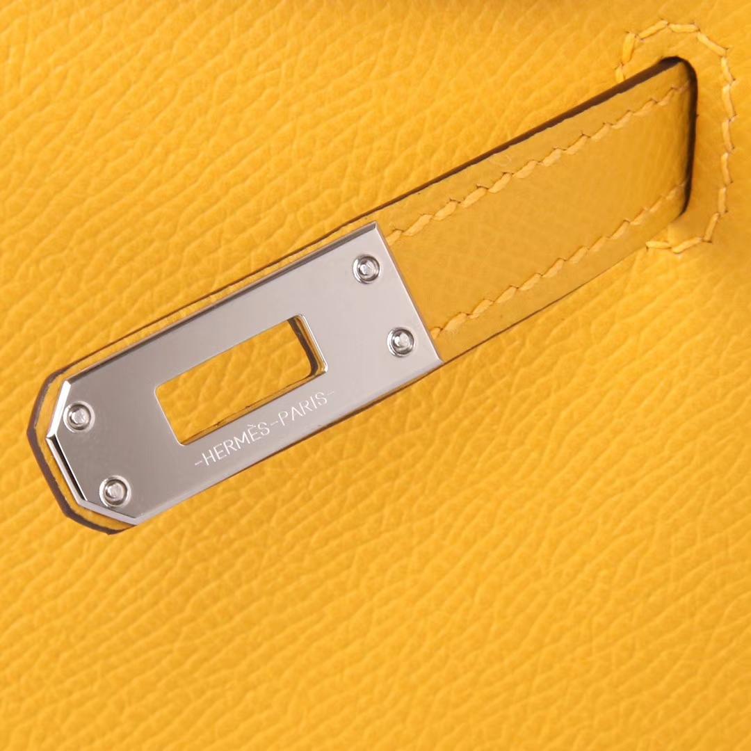Hermès(爱马仕)mini Kelly 迷你凯莉 琥珀黄 原厂御用Epsom皮 银扣 二代