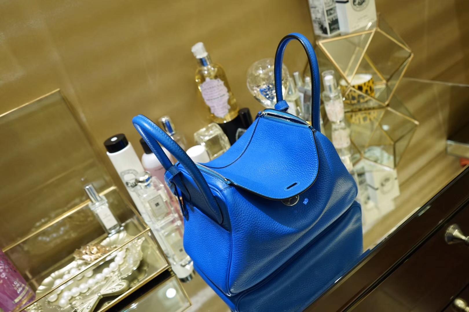 Hermès(爱马仕)Lindy琳迪包 伊兹密尔蓝 银扣 30CM