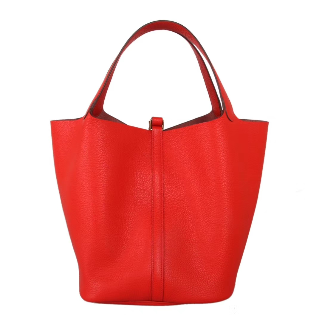 Hermès(爱马仕)Picotin菜篮包 番茄红 togo 金扣 26cm