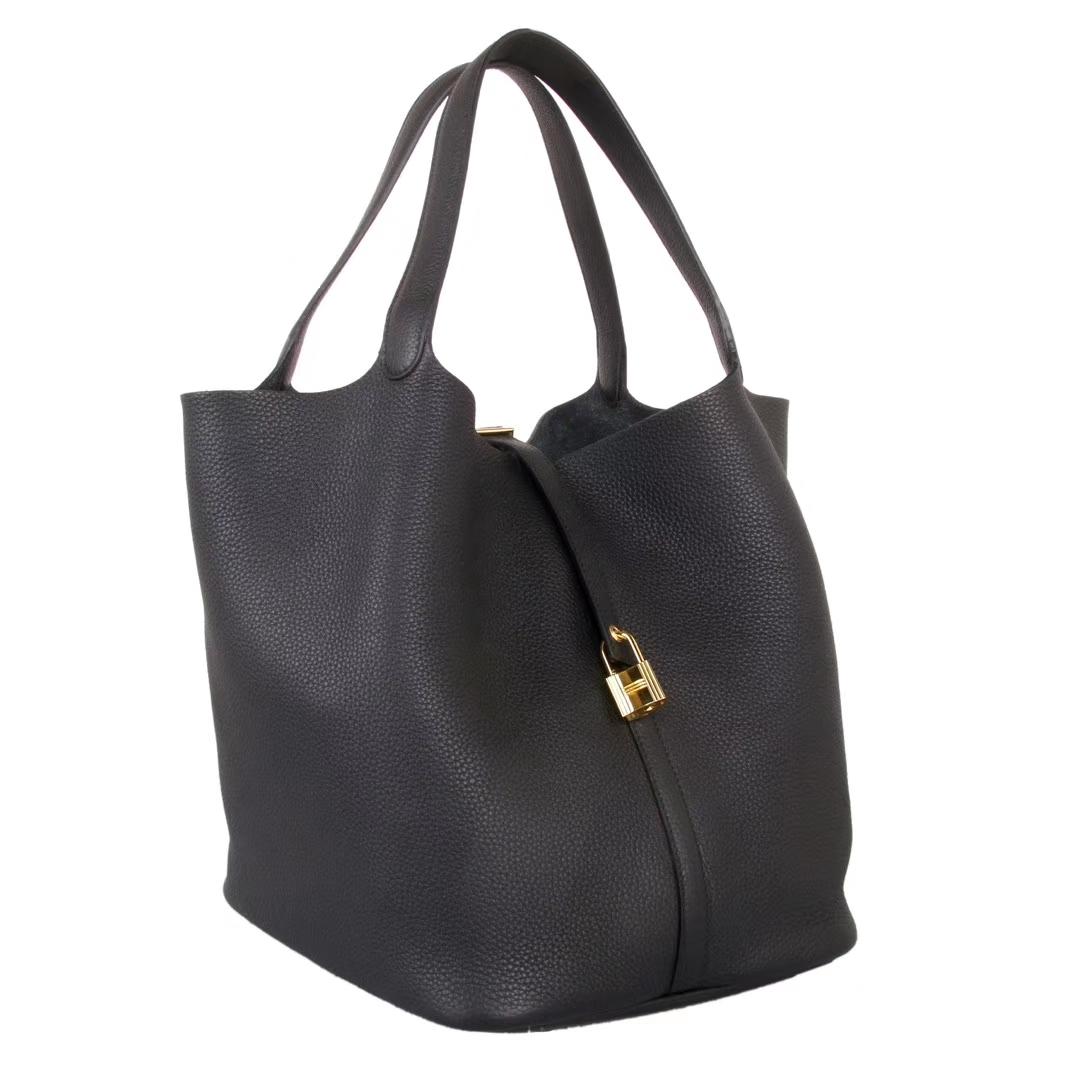 Hermès(爱马仕)Picotin菜篮包 黑色 togo 金扣 26cm