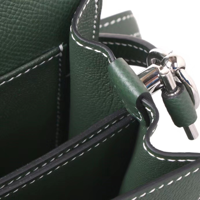 Hermès(爱马仕)Roulis猪鼻包 2Q英国绿 原厂御用epsom皮 银扣 19cm