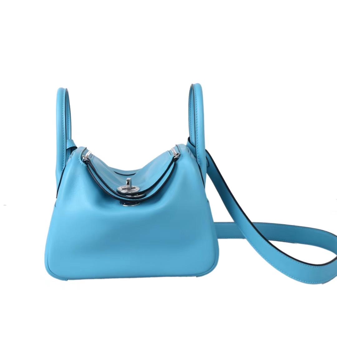 Hermès(爱马仕)mini lindy 迷你琳迪包 北方蓝 Togo 银扣 20cm