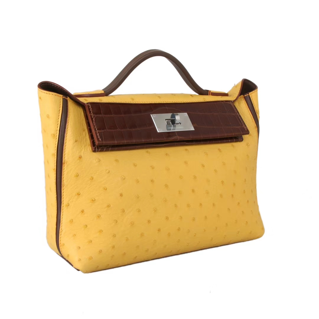 Hermès(爱马仕)Kelly2424 琥珀黄鸵鸟皮 拼 咖啡色鳄鱼皮 银扣 29cm