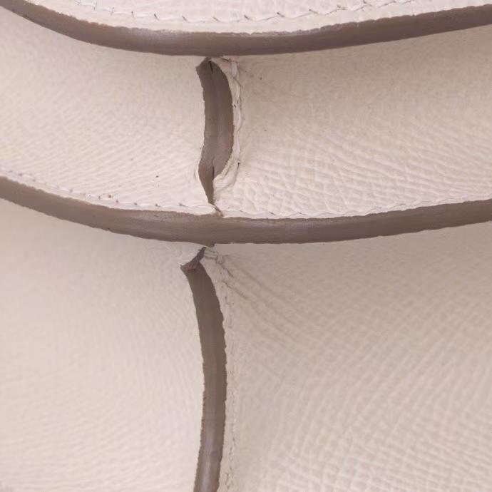 Hermès(爱马仕)Constace 空姐包 奶昔白内拼奶昔粉 原厂御用epsom 金扣 19cm