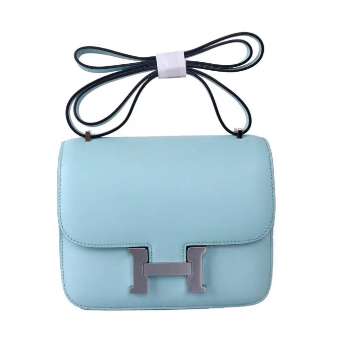 Hermès(爱马仕)Constace 空姐包 微风蓝 原厂御用swift皮 银扣 19cm