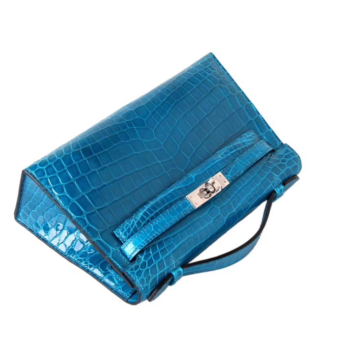 Hermès(爱马仕)miniKelly 迷你凯莉 伊兹密尔蓝 鳄鱼皮 一代 银扣 22cm