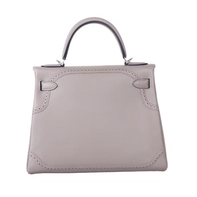 Hermès(爱马仕)Kelly m8沥青灰 swift 蕾丝 银扣 28cm 接受预定