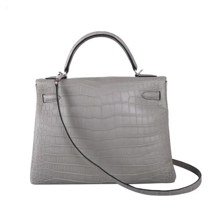Hermès(爱马仕)Kelly 巴黎灰 内缝 尼罗鳄 哑光 银扣 28cm 接受预定