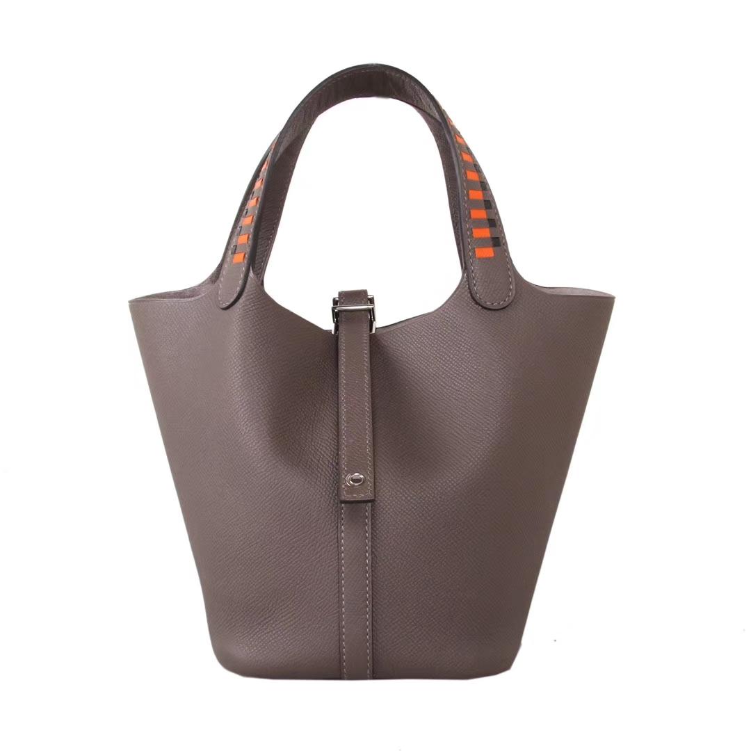 Hermès(爱马仕)Picotin 菜篮包 编织系列 锡器灰 原厂御用epsom皮 银扣 18cm