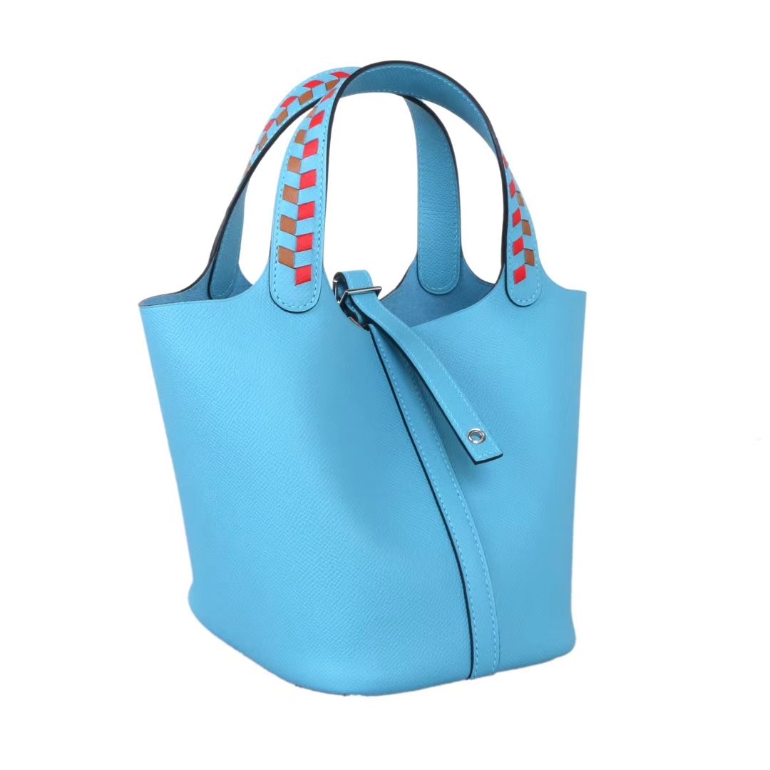 Hermès(爱马仕)Picotin 菜篮包 编织系列 微风蓝 原厂御用epsom皮 银扣 18cm