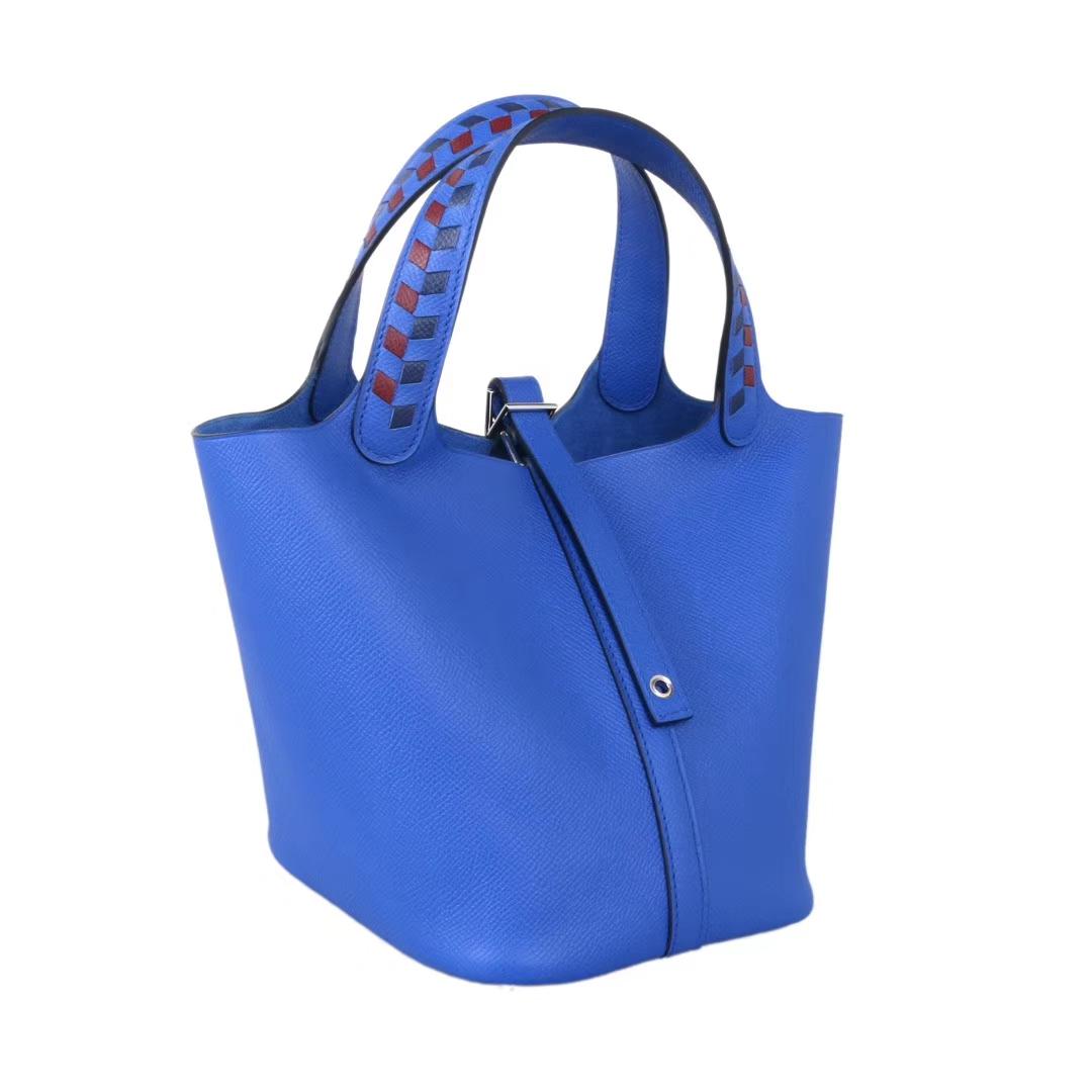 Hermès(爱马仕)Picotin 菜篮包 编织系列 B3坦桑尼亚蓝 原厂御用epsom皮 银扣 18cm