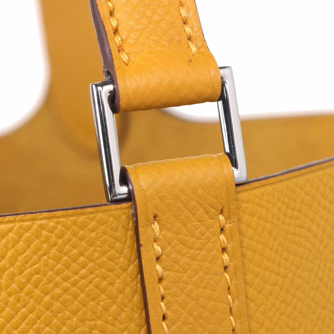 Hermès(爱马仕)Picotin 菜篮包 编织系列 9D琥珀黄  原厂御用epsom皮 银扣 18cm
