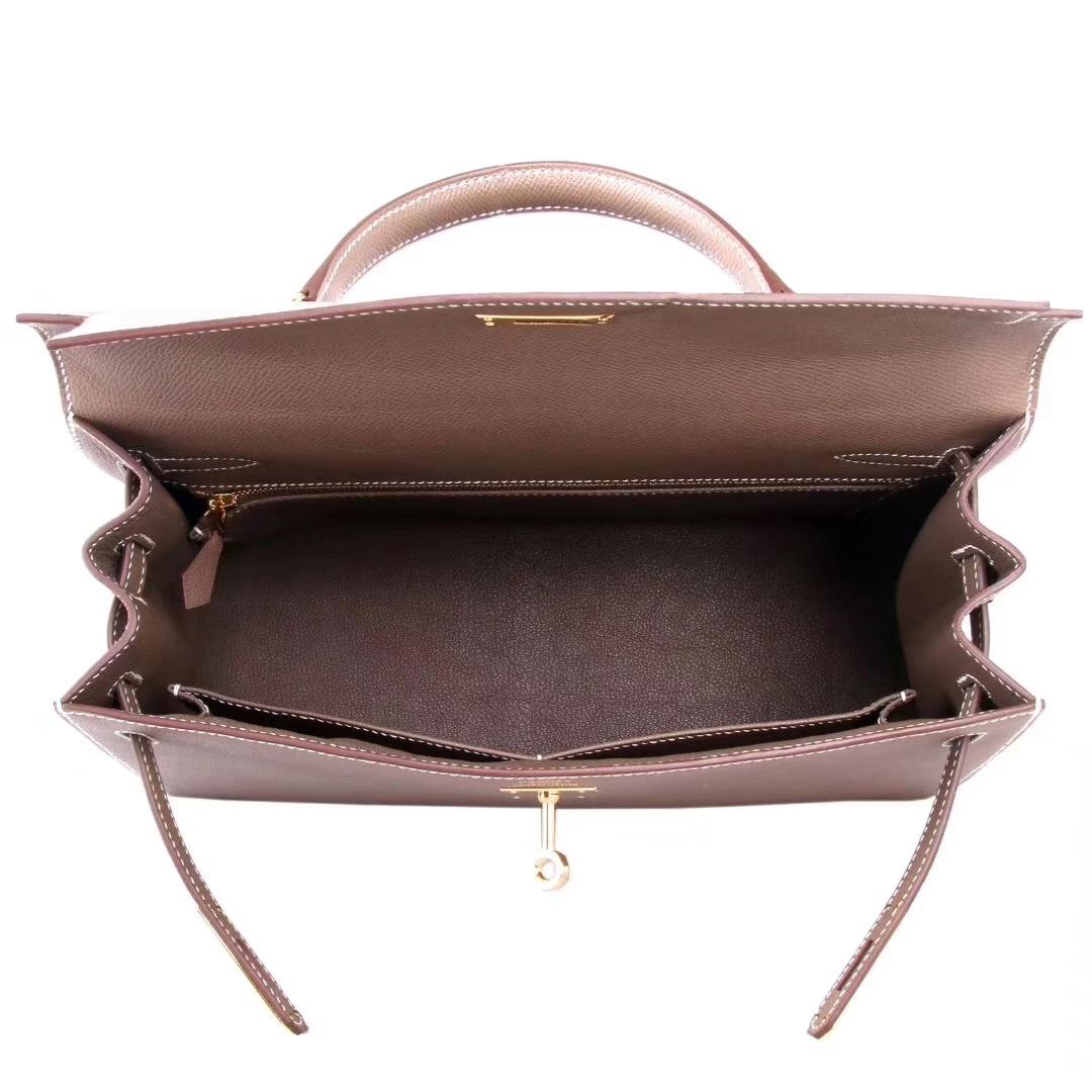 Hermès(爱马仕)Kelly 凯莉包 CK18大象灰 epsom皮 金扣 32cm