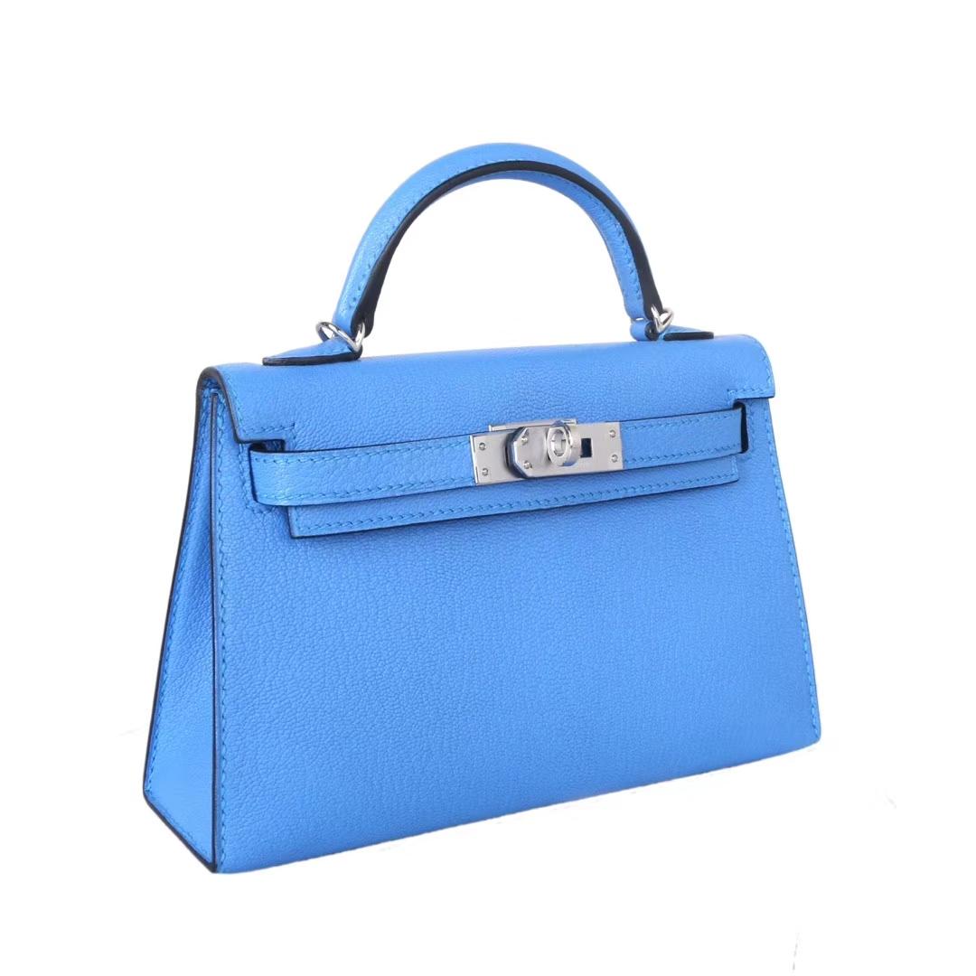 Hermès(爱马仕)mini Kelly 迷你凯莉 天堂蓝 银扣 原厂羊皮 二代
