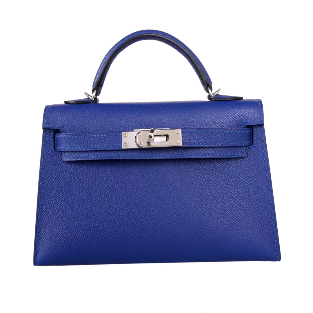Hermès(爱马仕)mini Kelly 迷你凯莉 宝石蓝 银扣 原厂Epsom皮 二代