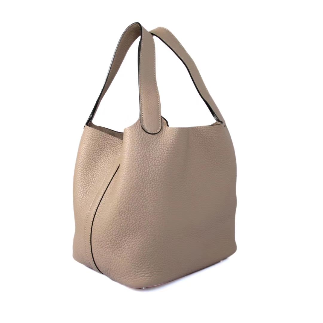 Hermès(爱马仕)Picotin 菜篮包 斑鸠灰 togo 银扣 22cm