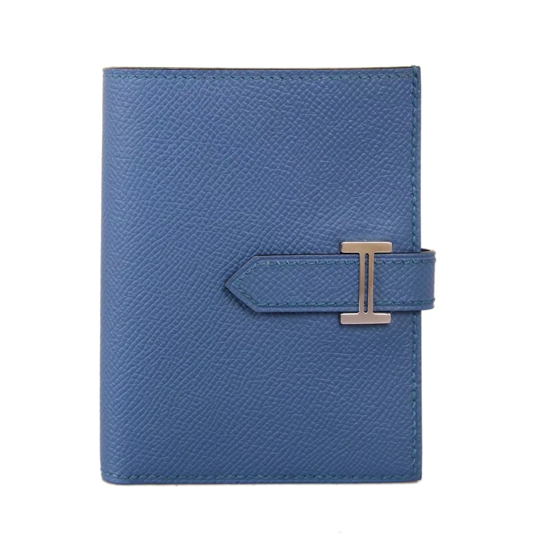 Hermès(爱马仕)Bearn 小H扣 短夹 银扣 玛瑙蓝 epsom皮