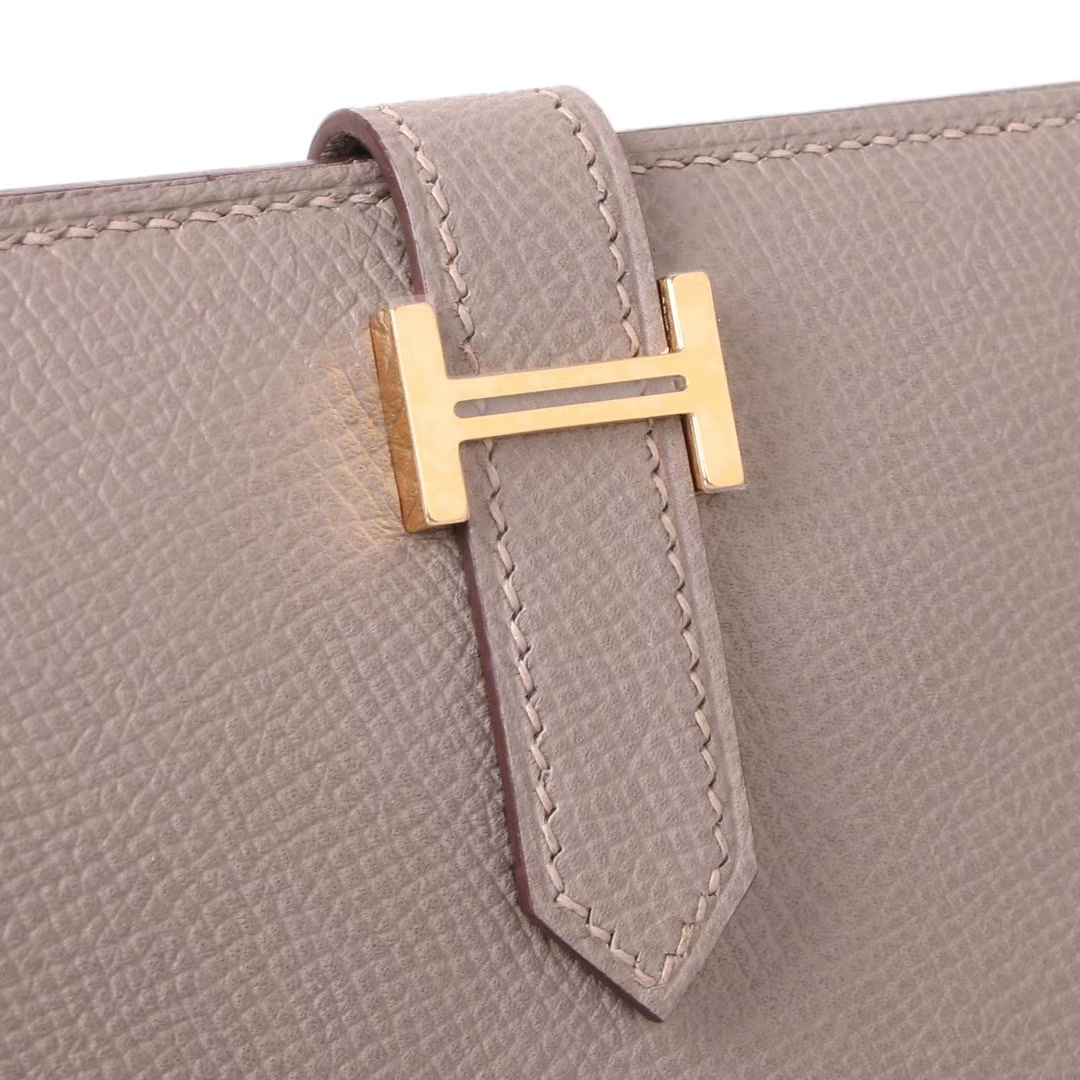 Hermès(爱马仕)Bearn 小H扣 短夹 金扣 沥青灰 epsom皮
