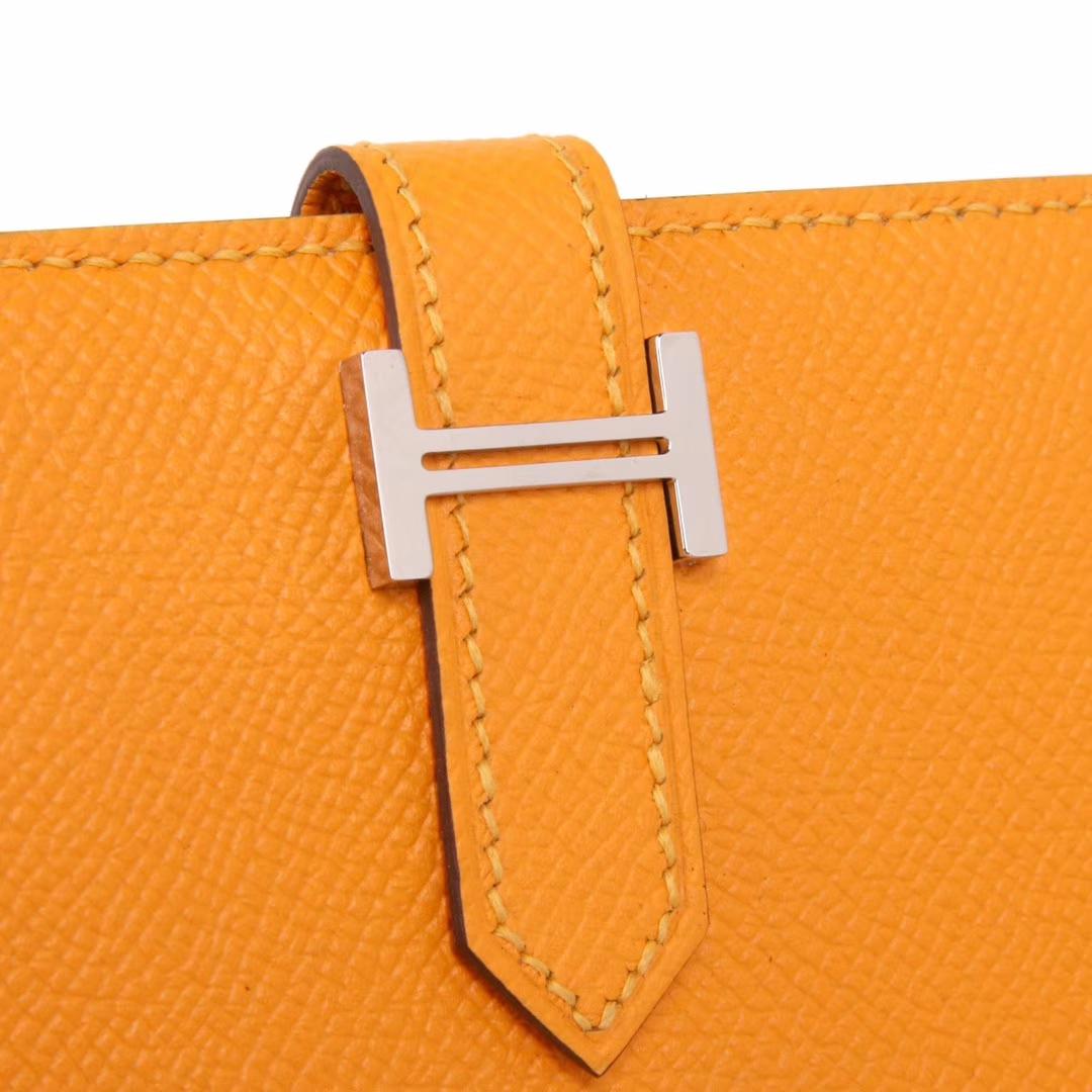 Hermès(爱马仕)Bearn 小H扣 短夹 银扣 太阳黄 epsom皮