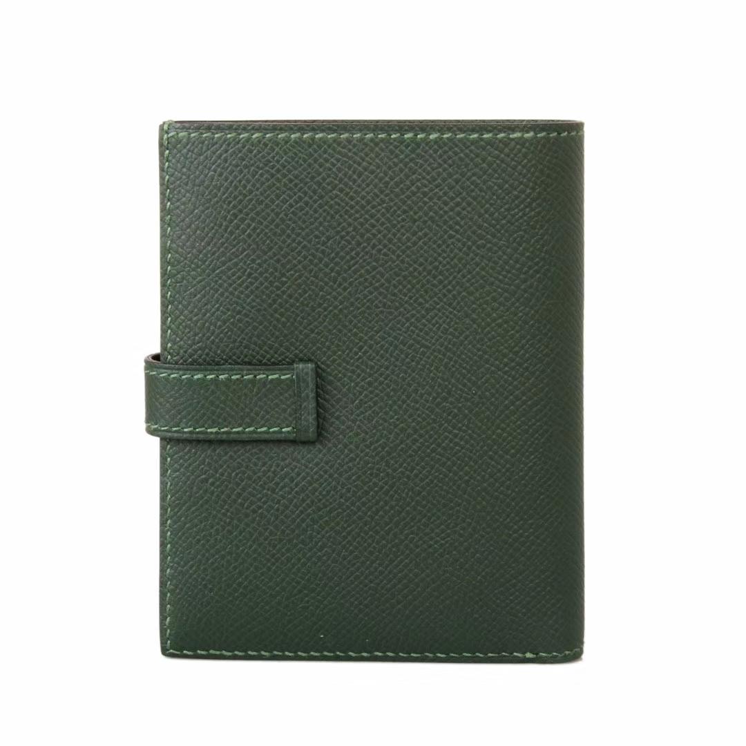 Hermès(爱马仕)Bearn 小H扣 短夹 银扣 森林绿 epsom皮