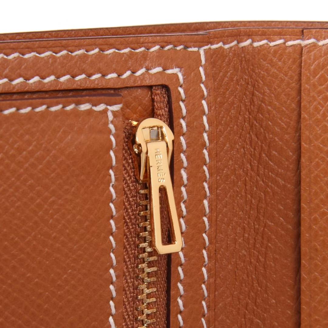 Hermès(爱马仕)Bearn 小H扣 短夹 金扣 金棕色 epsom皮