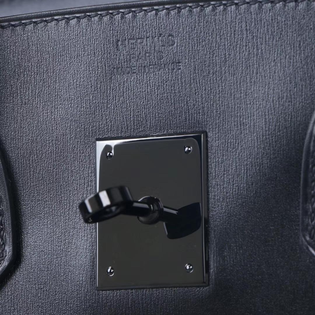 Hermès(爱马仕)birkin 黑色 box皮 so block 黑银扣 30cm