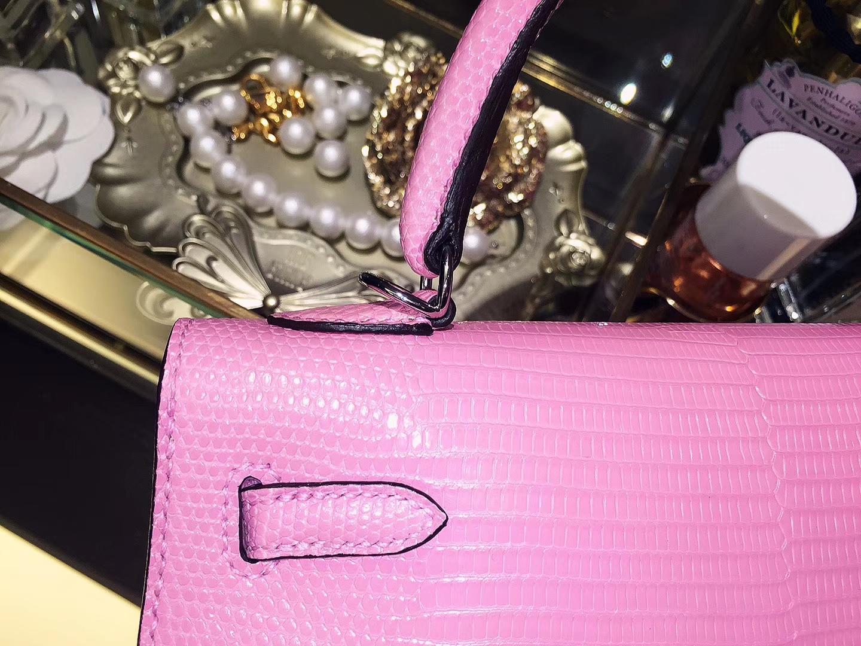 Hermès(爱马仕)kelly 凯莉包 樱花粉 蜥蜴皮 银扣 25cm