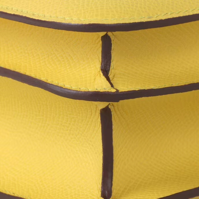 Hermès(爱马仕)Constace空姐包 9O那不勒斯黄 epsom皮 19cm