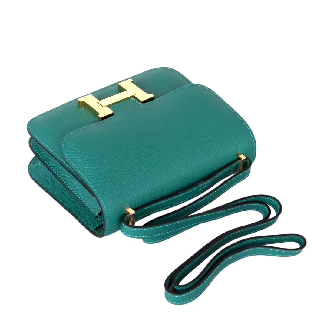 Hermès(爱马仕)Constace空姐包 原厂御用epsom 孔雀绿 金扣 19cm