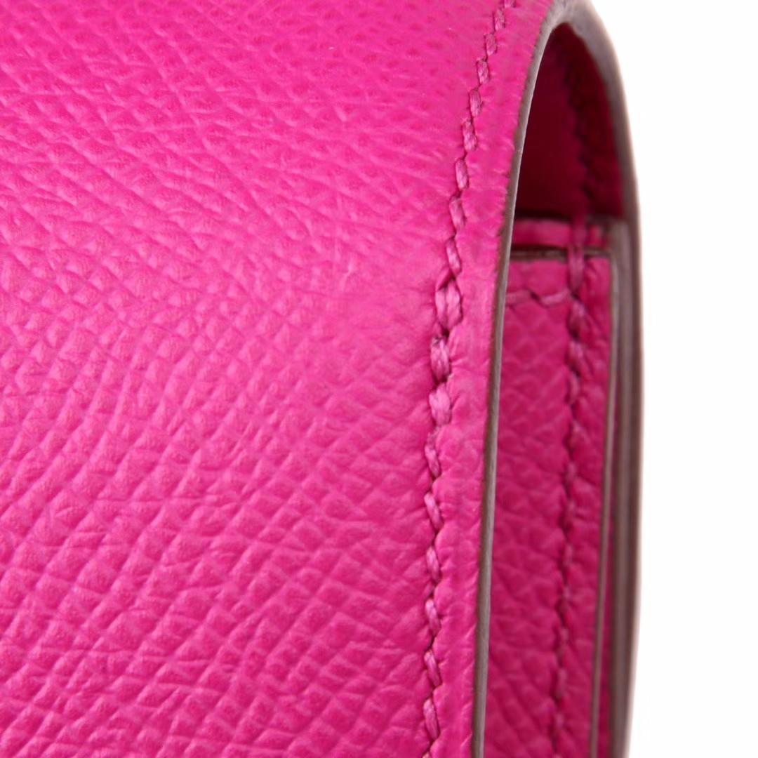 Hermès(爱马仕)Constace空姐包 原厂御用epsom 极致粉 银扣 19cm