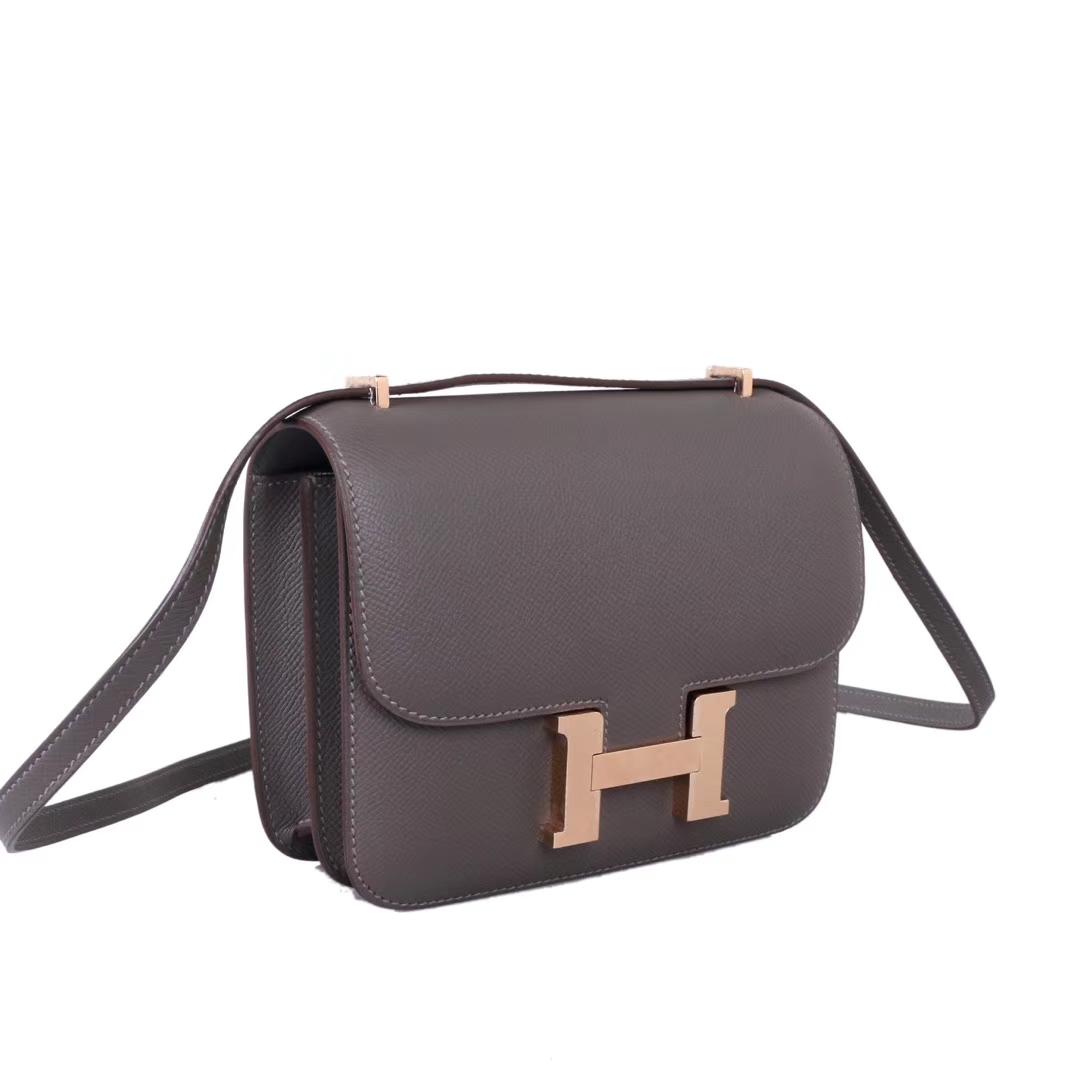Hermès(爱马仕)Constace空姐包 锡器灰 原厂御用epsom 金扣 19cm