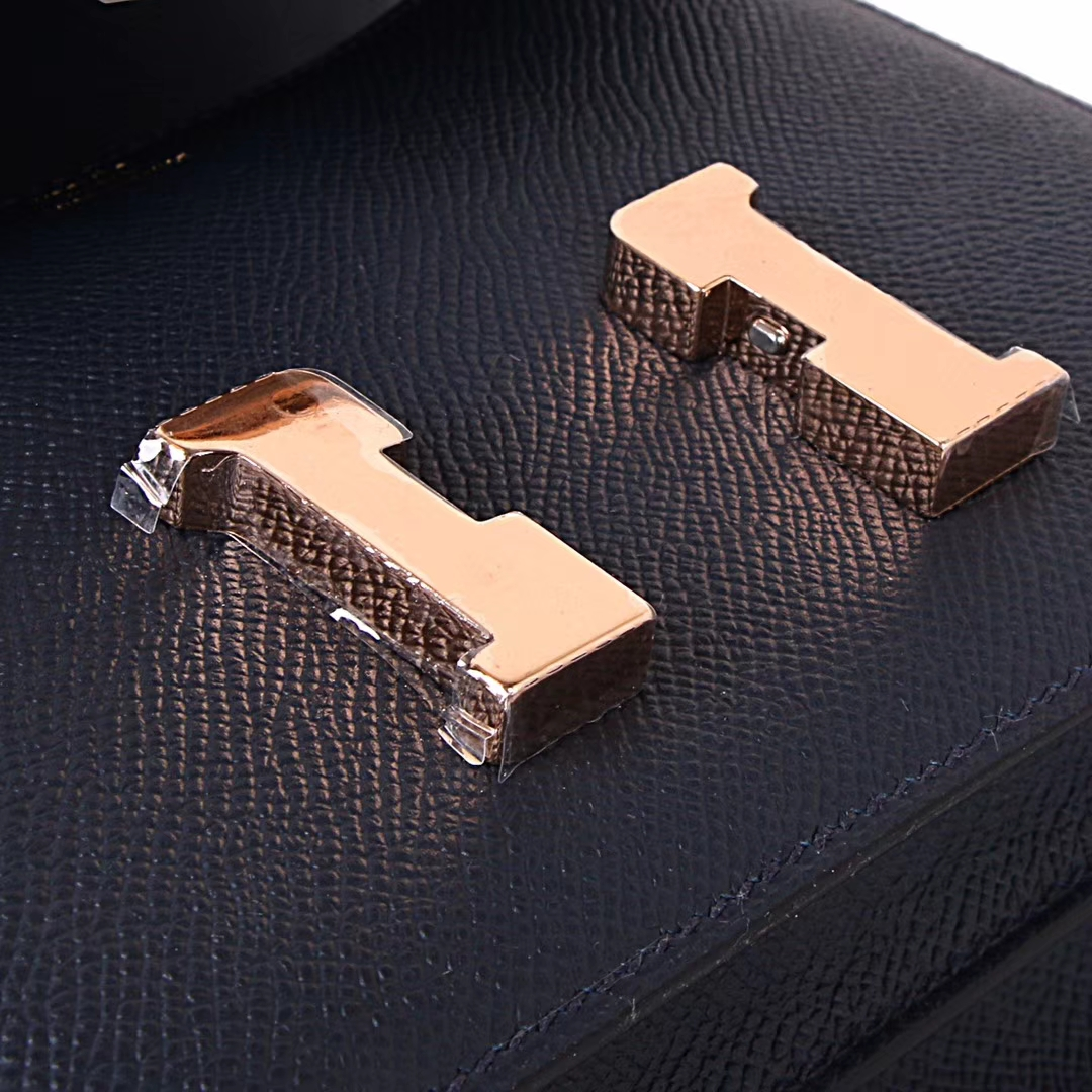 Hermès(爱马仕)Constace空姐包 深海蓝 原厂御用epsom 玫瑰金扣 19cm