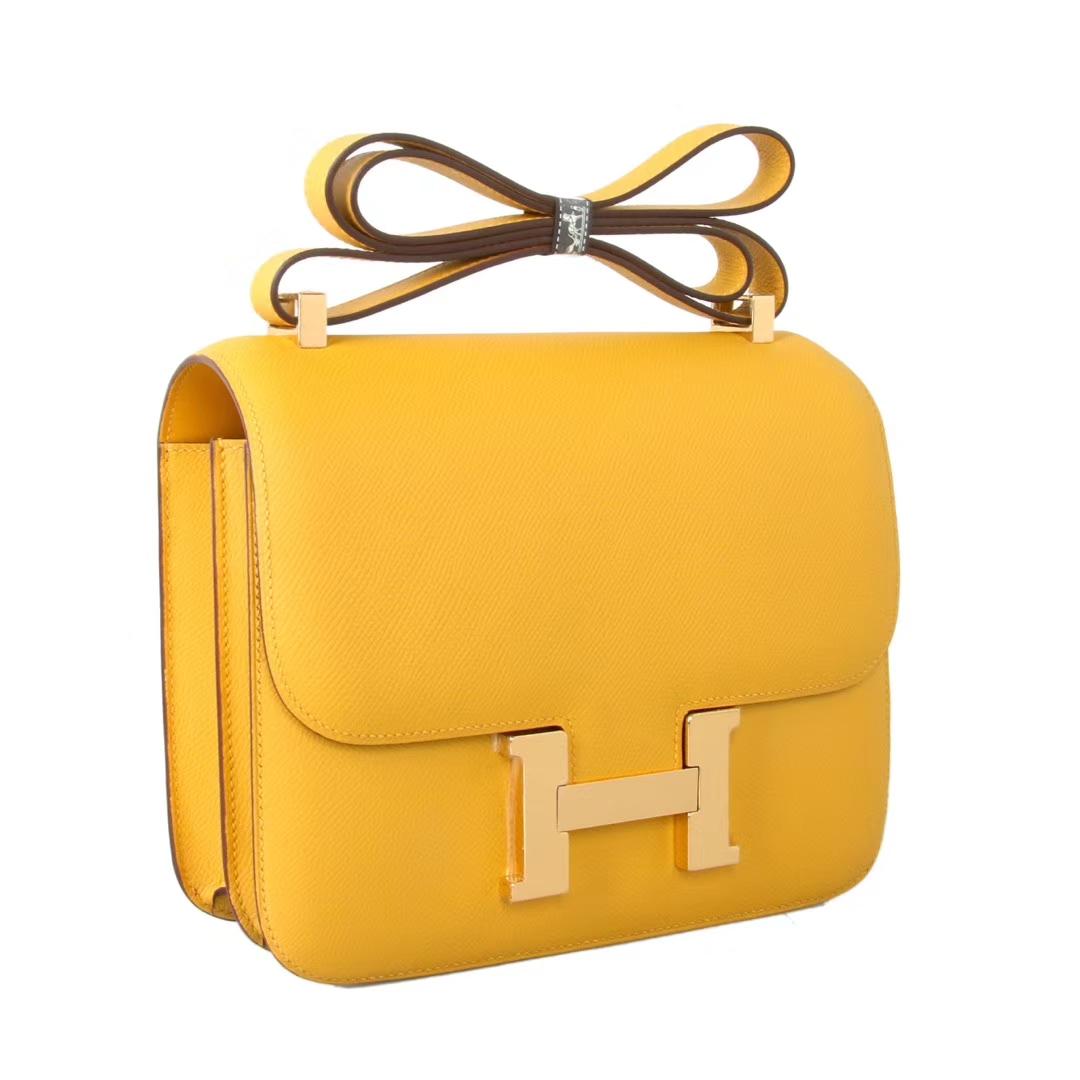 Hermès(爱马仕)Constace空姐包 琥珀黄 原厂御用epsom 金扣 19cm