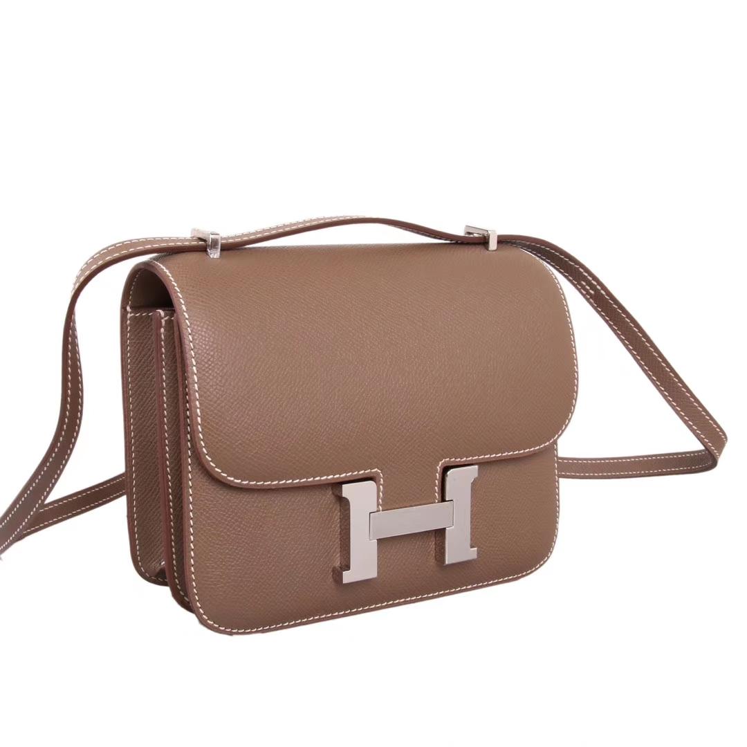 Hermès(爱马仕)Constace空姐包 大象灰 原厂御用epsom 银扣 19cm