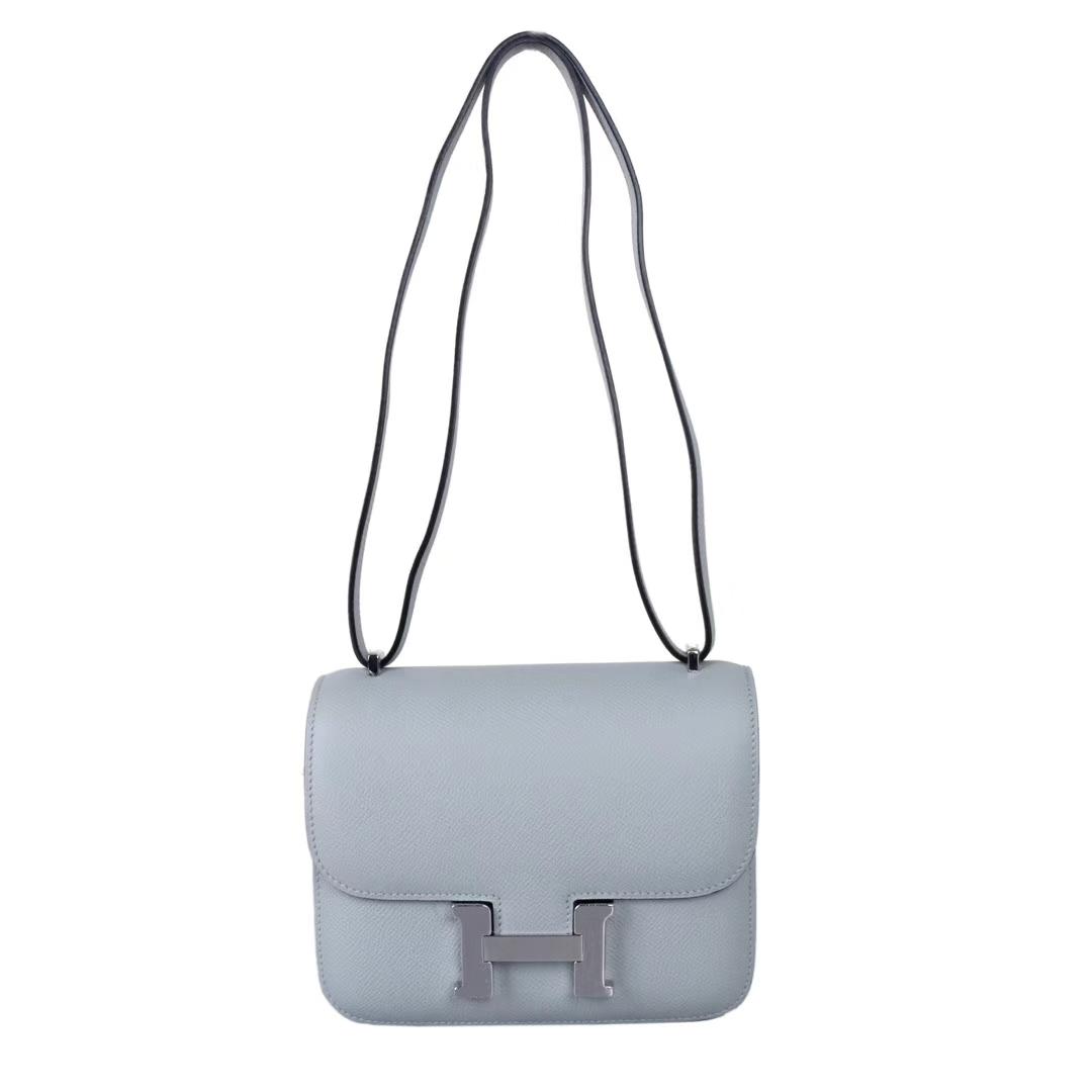 Hermès(爱马仕)Constace空姐包 冰川蓝 原厂御用epsom 银扣 19cm