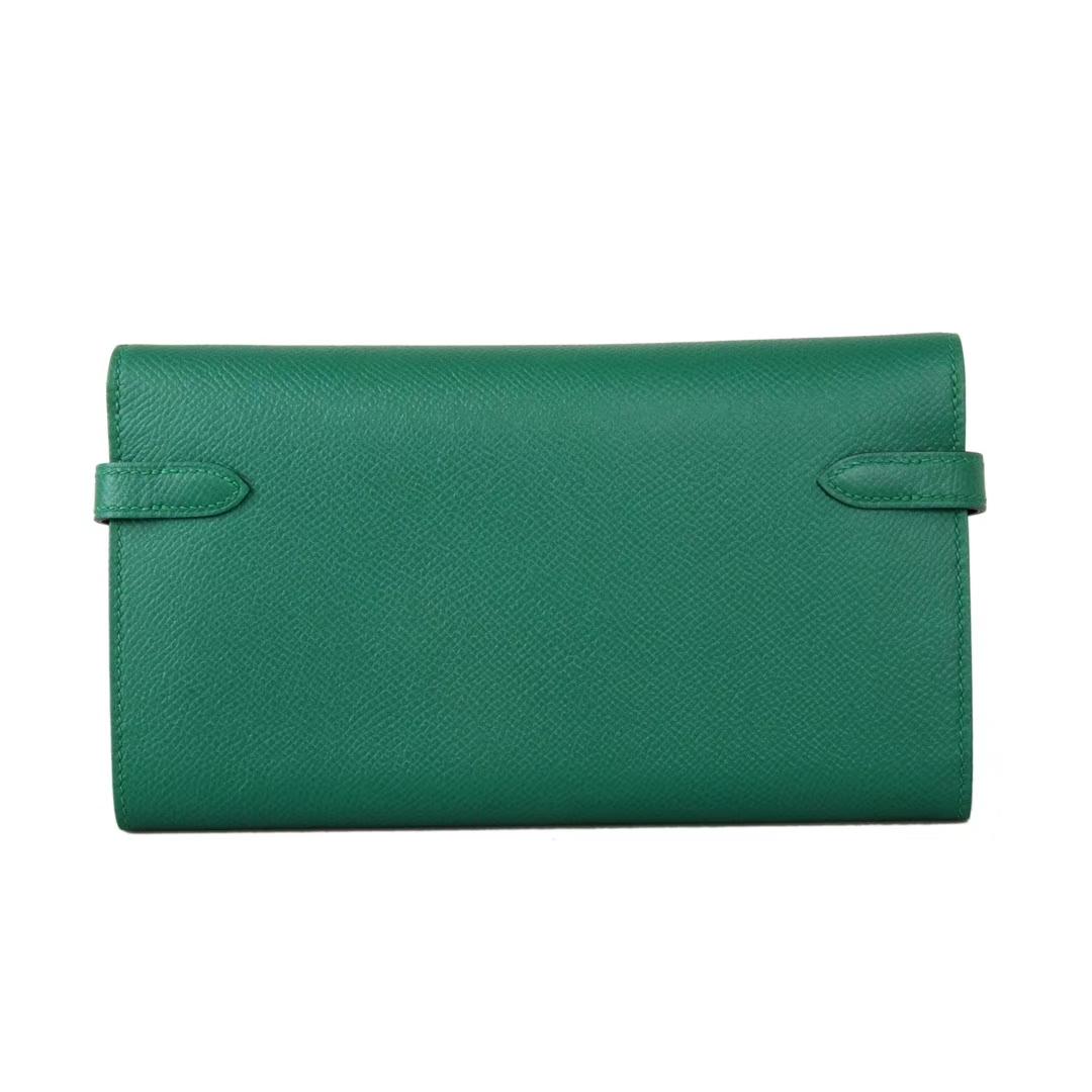 Hermès(爱马仕)凯利钱夹 丝绒绿 银扣 epsom皮