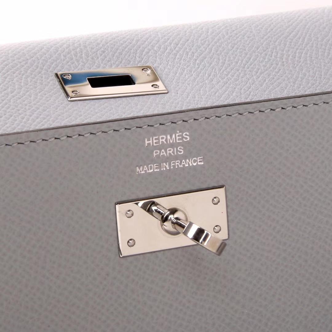 Hermès(爱马仕)凯利钱夹 亚麻蓝 银扣 epsom皮