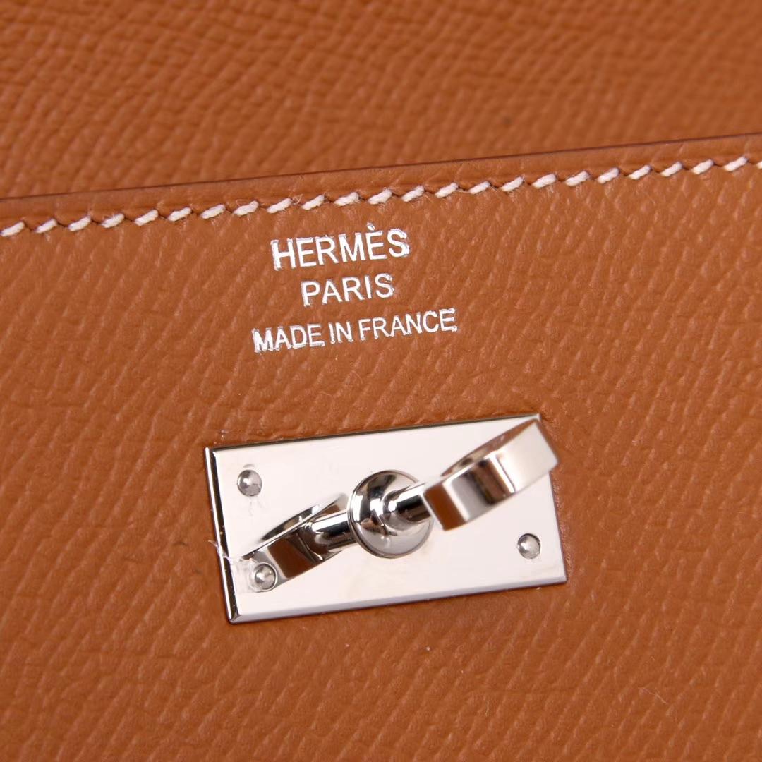 Hermès(爱马仕)凯利钱夹 金棕色 银扣 epsom皮