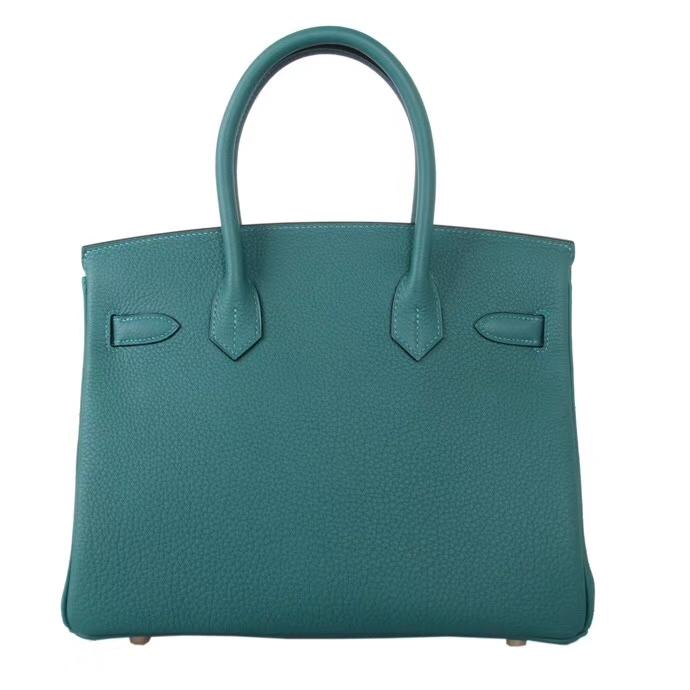 Hermès(爱马仕)Birkin 铂金包 孔雀绿 togo 金扣 30cm
