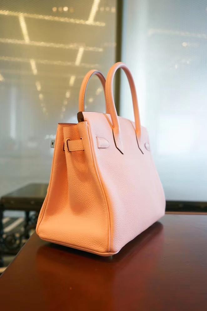 Hermès(爱马仕)Birkin 铂金包 奶昔粉 togo 银扣 30cm