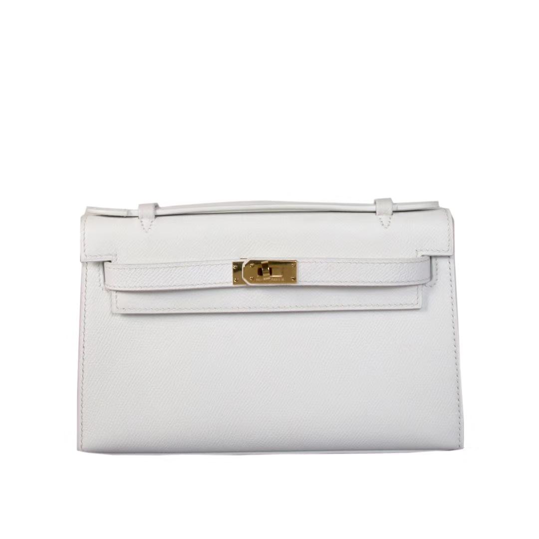 Hermès(爱马仕)mini kelly 迷你凯莉 纯白 原厂御用Epsom皮 银扣 22cm 一代