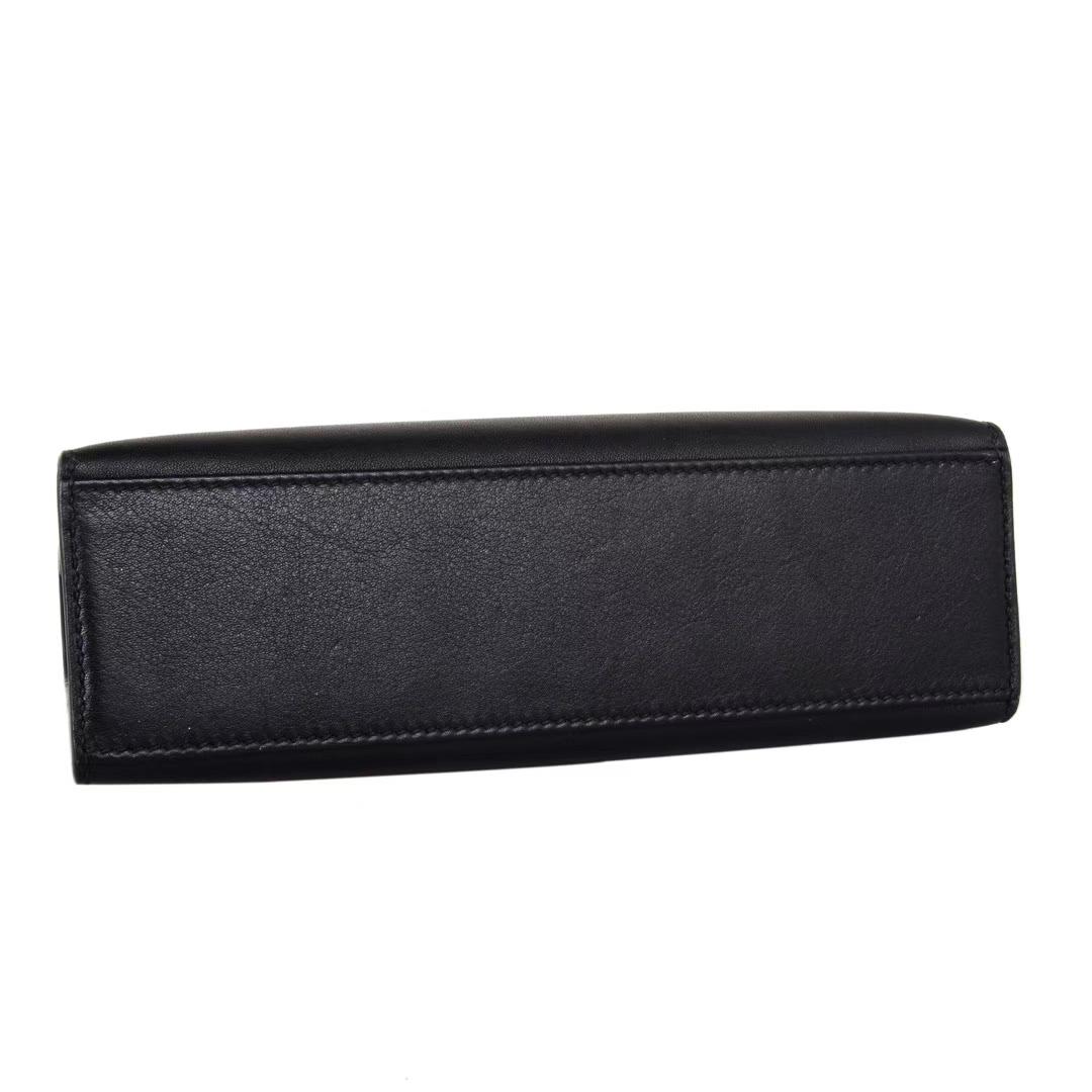 Hermès(爱马仕)mini kelly 迷你凯莉 一代 22cm 银扣 黑色 Swift皮