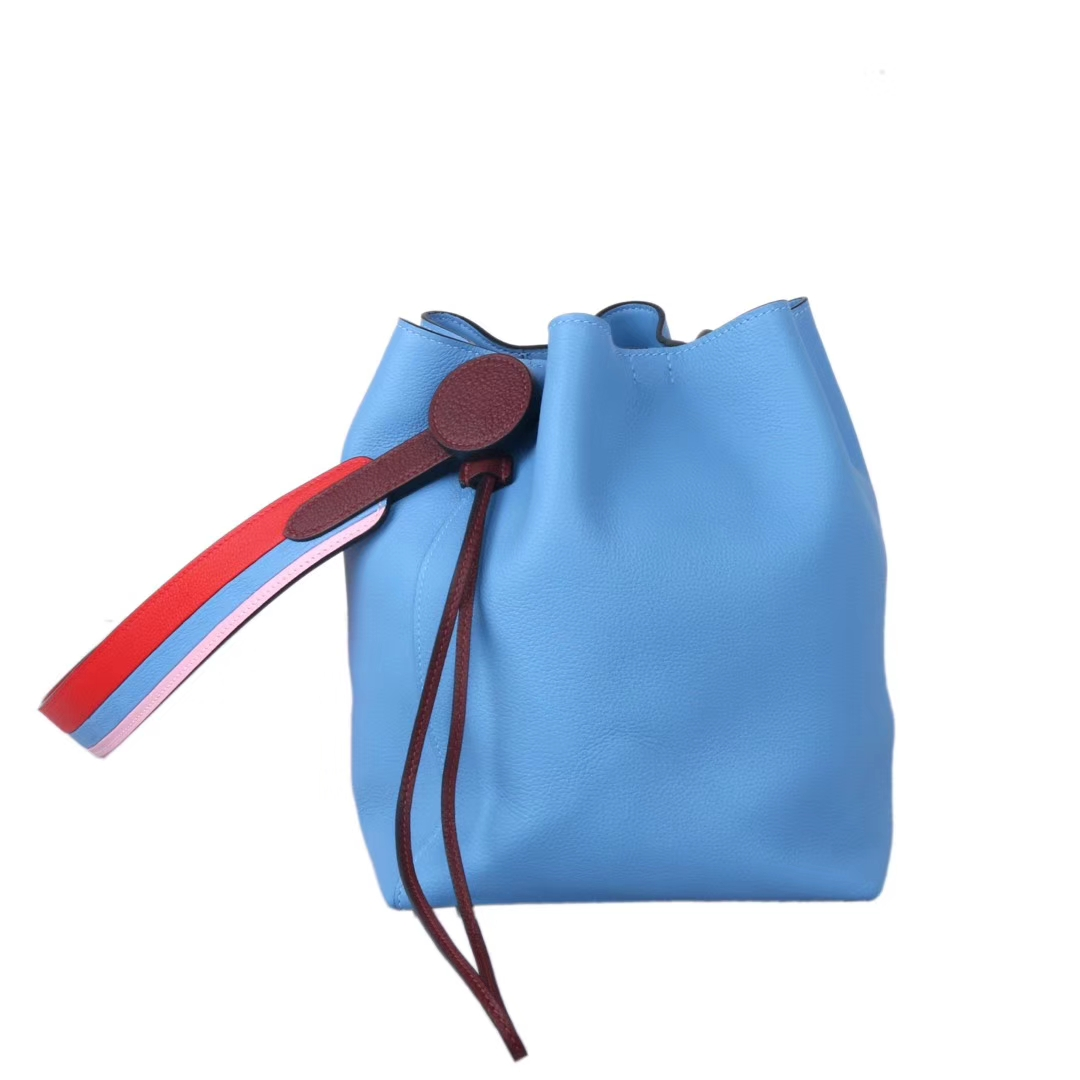 Hermès(爱马仕)licol 2019新款水桶包 北方蓝 evercolor 17cm